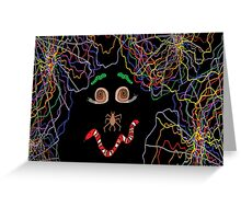 Psychedelically Glowing Spider Webs & Garden Critters Greeting Card