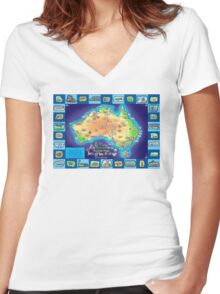 Australia Map board game Women's Fitted V-Neck T-Shirt