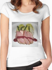 Stake and vegetables. Women's Fitted Scoop T-Shirt