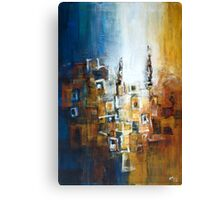 Building Composition in Blue and Ochre Canvas Print