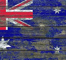 Flag of Australia on Rough Wood Boards Effect by Jeff Bartels
