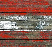 Flag of Austria on Rough Wood Boards Effect by Jeff Bartels