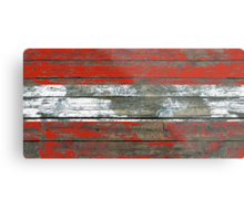Flag of Austria on Rough Wood Boards Effect Metal Print