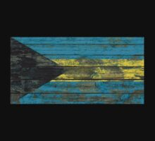 Flag of Bahamas on Rough Wood Boards Effect T-Shirt