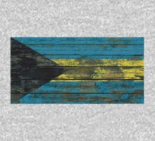 Flag of Bahamas on Rough Wood Boards Effect Kids Tee