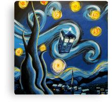 Blue Tardis Starry Night Canvas Print
