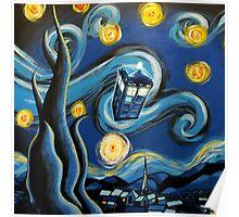 Blue Tardis Starry Night Poster
