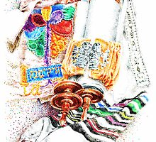 Closed Torah with Colorful Cover by Garth Potts