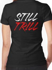 Still Trill V2 [Red White] | FTS Women's Fitted V-Neck T-Shirt
