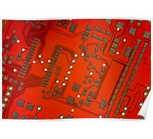 Red & Gold Circuitry Poster