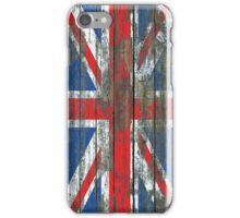 Union Jack Flag on Rough Wood Boards Effect iPhone Case/Skin