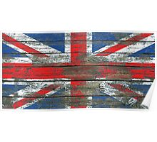 Union Jack Flag on Rough Wood Boards Effect Poster