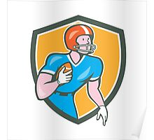 American Football Player Rusher Shield Retro Poster