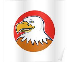 American Bald Eagle Head Smiling Circle Cartoon Poster