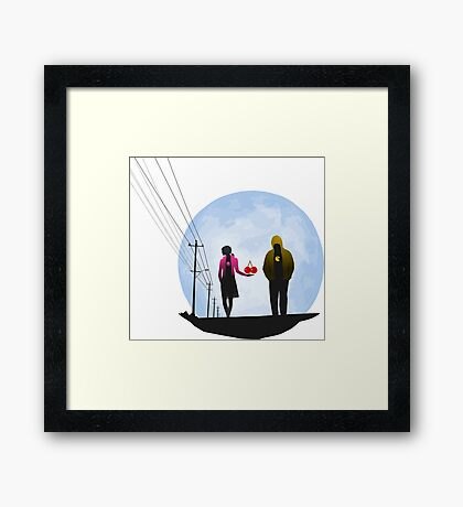 Pac Man and Ghost Framed Print