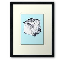 Freehand cube sketch  Framed Print