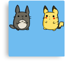 Totoro and Pikachu Canvas Print