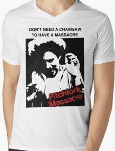 Pitchfork Massacre (Light backgrounds) Mens V-Neck T-Shirt