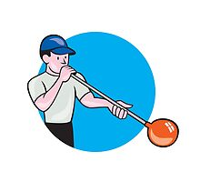 Glassblower Glassblowing Cartoon Circle by patrimonio
