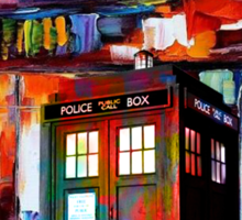 Tardis Night Painting Sticker