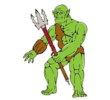 Orc Warrior Monster Trident Cartoon by patrimonio