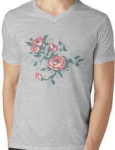Pixel Floral Bunch Mens V-Neck T-Shirt