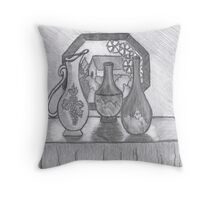 Vases In Stained Glass Window Light Throw Pillow