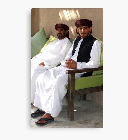 Sitting Men, Oman Canvas Print