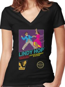 Dance Dance Retro-lution Women's Fitted V-Neck T-Shirt