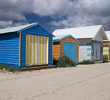 Safety Beach Huts by John Billing