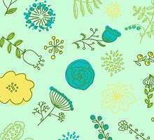 Elegance Seamless pattern with flowers, vector floral illustration in vintage style by OlgaBerlet