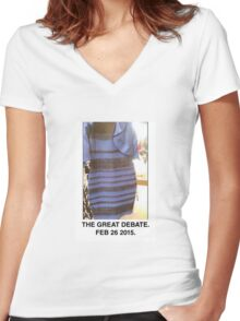 Black and Blue? White and Gold? Women's Fitted V-Neck T-Shirt