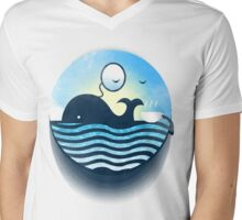 Sir Of Whales Tea Time Mens V-Neck T-Shirt