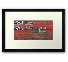 Flag of Bermuda on Rough Wood Boards Effect Framed Print
