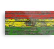 Flag of Bolivia on Rough Wood Boards Effect Metal Print