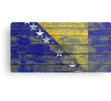 Flag of Bosnia-Herzegovina on Rough Wood Boards Effect Metal Print