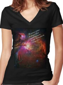 The Orion Nebula Declares! Women's Fitted V-Neck T-Shirt