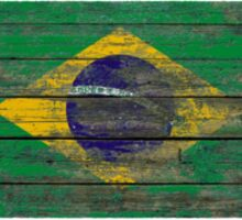 Flag of Brazil on Rough Wood Boards Effect Sticker