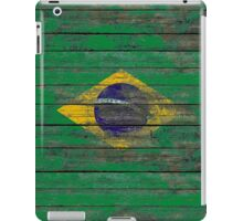 Flag of Brazil on Rough Wood Boards Effect iPad Case/Skin