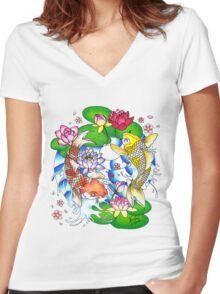 The Tao of Koi Women's Fitted V-Neck T-Shirt