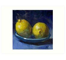 Lemons on Blue Plate Art Print