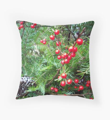 Christmas Red Berries Throw Pillow