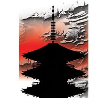 Japanese Temple Silhouette Photographic Print