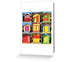 Brighton Bathing Boxes in Red Greeting Card