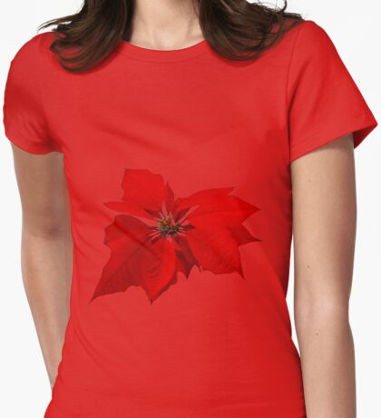 Poinsettia Womens Fitted T-Shirt