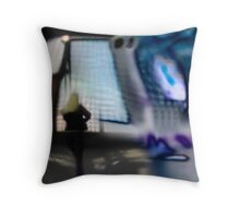 Blond woman looking through window Throw Pillow