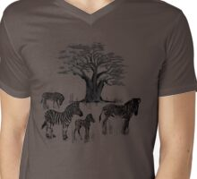Zebra and Baobab Tree Mens V-Neck T-Shirt