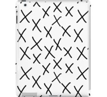 X - cross, plus, black and white, hand-drawn, graphic, bold, modern monochrome minimal design iPad Case/Skin