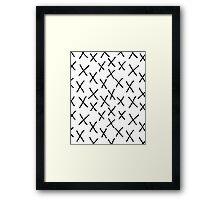 X - cross, plus, black and white, hand-drawn, graphic, bold, modern monochrome minimal design Framed Print