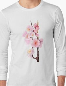 watercolor flowers of apricot Long Sleeve T-Shirt